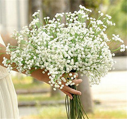 Wholesale White Gypsophila Flowers - New Arrive Gypsophila Baby's Breath Artificial Fake Silk Flowers Plant Home Wedding Decoration