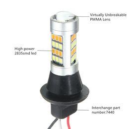 Wholesale T5 Led Car Signal Light - 2pcs T20 7443 2835 42 SMD 1000LM 20W Car LED DRL Daytime Running Light Dual Color Switchback Turn Signal Lamp Bulb DC 12-24V