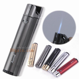 Wholesale Green Lighters - Metal Aomai Brand Blue Jet Flame W Gas Window Butane Gas Cigarette Lighter Cigar Lighter AM-293