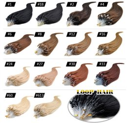 "Wholesale Micros Hair Extensions - Micro Loop Remy Hair Extensions 18"" 20"" 22"" 24"" Indian Virgin Hair Straight Keratin Hair 50g lot 0.5g strand 13 Colors"