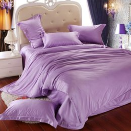 Wholesale Western Style Doona Covers - Luxury light purple bedding set queen king size lilac duvet cover double bed in a bag sheet linen quilt doona bedsheet tencel western