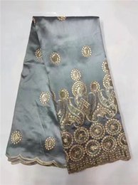 Wholesale Indian Series - Sky blue African George Lace Indian Design Red For Nigerian Wedding Dress Tissu Sequined Gold Line Embroidered Guipure Lace Silk Fabrics