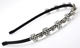 Wholesale Rhinestone Knots Quality - New Women Crystal Headband with Rhinestone Alloy Chinese Knot Hair Accessories Fashion High Quality Hair Jewelry for Wholesale