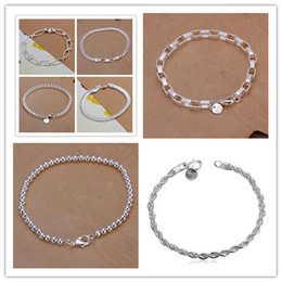 Wholesale String Bracelets 925 Silver - 8 Styles 925 Sterling Silver Twisted String Box Bead Snake Chain Multi Charms Bracelets Fashion Snake Bangle Jewelry Christmas Gift for wome