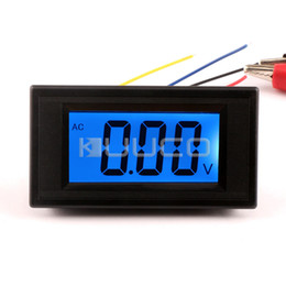 Wholesale Volt Meter Blue - Wholesale-Four wires Digital Voltage Meter AC 0~20V Blue LCD Voltmeter AC DC 8V 12V Volt Monitor Meter