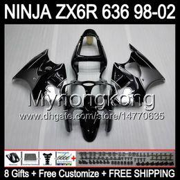 Wholesale Zx6r Silver Black - 8Gifts+ Body Silver black For KAWASAKI NINJA ZX6R 98-02 ZX636 ZX 636 MY31 ZX-6R ZX 6R 98 99 00 01 02 1998 1999 Silver 2000 2001 2002 Fairing