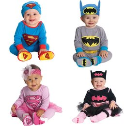 Wholesale Set Boys Superman - Infants Baby Boys Girls Long Sleeve Superman Batman Romper+Hat 2Pcs Set Children Halloween Christmas Party Costume Kids Bodysuit Jumpsuit