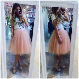 Wholesale Black Tutu Petticoat - 2015 Knee Length Tulle Skirts Free Size Custom Made Women Party Skirts Tulle Tutu Adult 4 Layers Petticoat Daily Wear Skirt Cheap