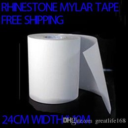 Wholesale Mylar Transfer Paper - Iron On Hot Fix Rhinestone Mylar Tape Paper hotfix transfer paper 24cm width 10M LOT Free shipping