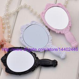 Wholesale Make Rose Mirror - 100pcs 15X7.8CM Retro Vintage Style Plastic Black Rose Women Ladies Girl Make up Mirrors Cosmetic Hand Held Mirror