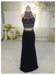 Wholesale Yellow Halter Neck Top - Vestidos 2016 New A-line Back Two Pieces Dresss Prom Gowns High Beaded Neck Halter Open Slit Illusion Crop Top Mermaid Dresses Party Evening