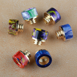 Wholesale Ecigarette Parts - Epoxy Resin Drip Tip Vape TFV8 Baby Resin Drip Tip Gold Plated SS Part Ecigarette Accessories Drip Tips for E cigs RDA Atomizers