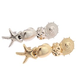 Wholesale Wholesale Starfish Hair Accessories - Starfish Conch Shell Ocean Style Gold Silver Tone Hairband Head Clip Hair Accessories Jewelry CF143