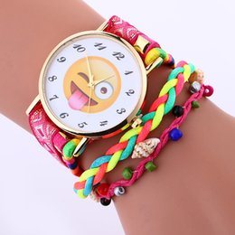 Wholesale Ladies Stylish Watches - 2017 Stylish Cute Emoji Designer luxury women's fashion Watches Nylon Weave Bracelet Women expression Ladies Watch reloj