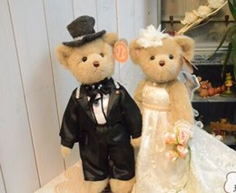 Wholesale Teddy Bear Marriage - beauty Marriage gauze bear 37cm 2pcs lot get married plush toy with gift box support for kids present yx105