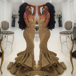 Wholesale Even Dresses Champagne - New Designer Bling Gold Sequins Mermaid Prom Dresses 2017 Spaghetti Open Back Ruffles Sweep Train Evening Gowns Pageant Dress Formal BA1086