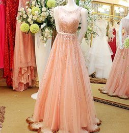 Wholesale Short Pink Night Dresses - Pearl Pink Luxury Evening Dresses Sheer Neck Keyhole Back Long Beaded Tulle Short Train Night Out Wear