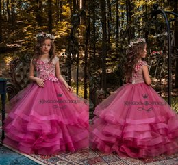 Wholesale design for girl dresses - Beautiful New Design Fuchsia Girl's Pageant Dresses Ball Gown Handmade Flowers Flower Girl Dresses for Wedding Tiered Tulle Party Gowns