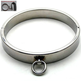 Wholesale Steel Ring Collar Bdsm - Slave Toys Men BDSM Metal Neck Collar Sex Restraint Necklet With Lock Joints Adult Games Stainless steel Neck Ring Male Gay Sexual Tools