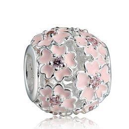 Wholesale Enamel Charms Round - Pink Enamel Flower Zircon Charm 925 Sterling Silver European Charms Bead Fit Snake Chain Bracelet Fashion DIY Jewelry Wholesale