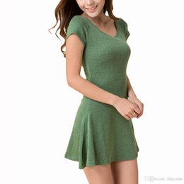 Ropa china online-S5Q Mujer Verano de manga corta T-SHIRT Sundress Pure Cotton Casual Mini vestidos AAAENN envío de la gota libre de China ropa de fábrica
