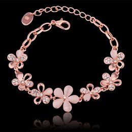 Wholesale Thin Bracelets Crystal - Bangle Bracelets for Women Men Opal Charm Bracelets Infinity Thin Gold Bracelets Crystal Rhinestone Stone Rose 18K Gold Bracelets
