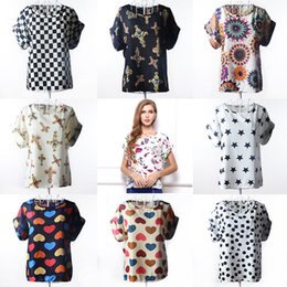 Wholesale White Chiffon Shirts Blouses - High Quality Heart Printed Summer Women Blouses Short Sleeve Chiffon Blouse Plus Size Blusas Femininas 2016 Tops Shirt Women