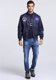 Wholesale mens japanese jacket - Winter mens Ma1 Bomber NASA jackets Japanese Bomber Jacket KANYE WEST Pilot Flight Jacket Bombers streetwear Baseball Coats