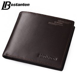 Wholesale Men Wallet Leather Money Clip - Bostanten Coffee New Sale Vintage Men Vertical Style Cow Leather Men Wallet Designer Carteras Money Clip Free Shipping