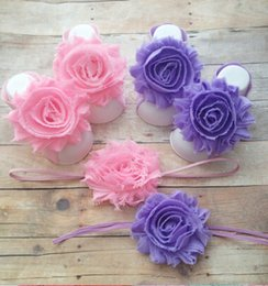 Wholesale Baby Sandles - 5%off Matching Shabby Flower Baby Barefoot Sandals and Headband - You Choose Color Great for Summer Baby Barefoot Sandles 6set lot