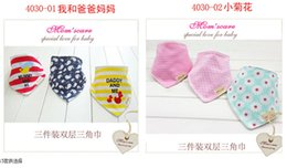 Wholesale Children Tie Dye - 2015 New Arrival 100% Cotton cartoon Baby Bandages Triangle Bibs Children Snap Bibs Mom's Care Bibs C001