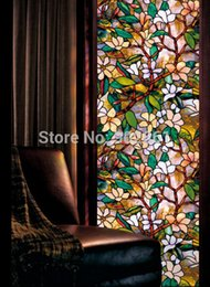 Wholesale Stain Glass Window Film - Funlife 45x100cm 17.7x39.3 in Magnolia Glass Window Privacy Film Textured Stained Effect Floral Security Static Cling wp1045