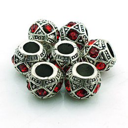 Wholesale Metal Beads Crystals - Brand New Fashion Metal Beads Antique Silver Crystal Big Hole Loose Beads Fit European Bracelets DIY Jewelry