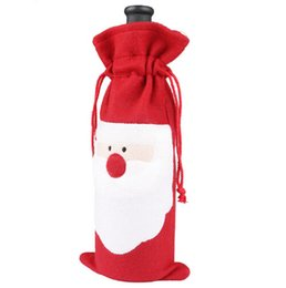 Wholesale Table Cloth Sale Wholesale - Hot sale Merry Xmas Santa Claus Wine Bottle Cover Christmas Dinner Party Table Decor Red free shipping