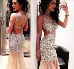 Wholesale Bling Collar Dress - Amazing Spark Crystals Rhinestones Evening Dresses 2016 Sexy Cutaway Bling Sequins Vestidos Sheer Pageant Prom Gowns Mermaid Formal Dresses