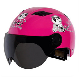 Wholesale Types Vespa Helmets - A#07 Free Shipping Vintage Andes-X333-G ABS portable-type Vespa Scooter Cycling Motorcycle Bright Pink Bear Helmet & UV Lens Adult Summer