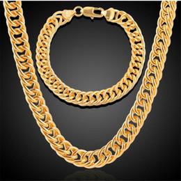pulseiras de ouro 24k china Desconto A Europa E Os Estados Unidos Mens Ligação Grossa e Apertada 18k Amarelo Banhado A Ouro Cadeia de Ligação Cubana De Miami E Conjunto de Pulseira