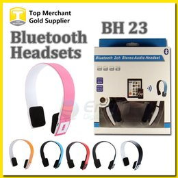 Wholesale Bluetooth Bh - Wireless Bluetooth Headphone BH 23 Bluetooth Stereo Headset Headphone Earphones Microphone Answer Calling for Iphone Smart phone with box