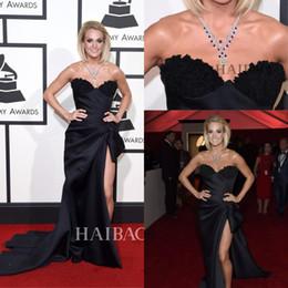 2019 celebrity grammy awards dresses Carrie Underwood 58th Grammy Awards Celebridade Sexy Vestidos de Alta Side Dividir Querida com Rendas Apliques Vestidos de Noite Formal celebrity grammy awards dresses barato