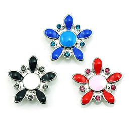 Wholesale Color Button Wholesale - Fashion 18mm Snap Buttons 3 Color Enamel Star Clasps DIY Interchangeable Noosa Ginger Jewelry Accessories NKC0014