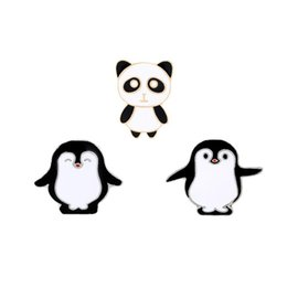 Wholesale Panda Pins - Women Creative cartoon animal panda penguin Pins brooch girls Statement Charm Popular Jewelry gifts Fashion Clothing Brooches Accessories