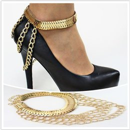 Wholesale Trendy Golden Chain - High Quality Tassel Anklets Golden Foot Chain Leg Ring SLAVE ANKLE For High-heeled Shoes Multilayer Heavy Metal Chain Anklets Body Jewelry
