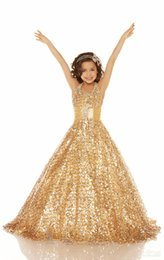 Wholesale Cheap Shiny Pageant Dresses - 2016 Cheap Gold Sequins Beaded Halter Ball Gown Girls Pageant Dresses Shiny Sequins Flower Girl Dresses Wedding Gowns