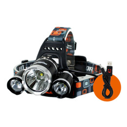 Wholesale Rechargeable Head Torches - Boruit CREE XM-L T6 2R2 Headlight Trinuclear Headlamp 4 Modes Head Torch Lamp+AC Charger+ Car Charger+18650 Cycling Lights 2503012