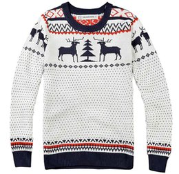Wholesale Deer Jumpers - Winter New Fashion Man Brand Deer Knitting Christmas Sweater Pullover Men Long Sleeve Slim Fit Sweaters O-Neck Jumper Pull Homme