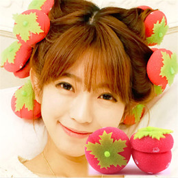 Wholesale Strawberry Rollers - 18pcs  Lot Hair Curler Strawberry Balls Rollers Hair Care Soft Sponge Lovely Diy Hair Styling Tools Magic Curler Rollers