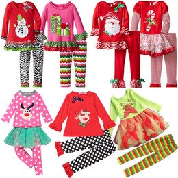 Wholesale Samgami Baby Clothing - Samgami Baby Newborn Infant Baby Girls Toddler Christmas Set Clothes Red Long Sleeve Striped Outfits Clothing girls christmas dress set