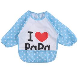 Wholesale Cute Smocks - Wholesale- Hot! Cartoon Baby Bibs Waterproof Long Sleeve Burp Cloths Feeding Art Smock Apron Cute Infant Clothing