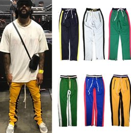 Wholesale Vintage Flats - New black red green Colour FOG Justin Bieber style sweatpants men hiphop Slim Fit double striped track pants crawler Leg Zip Vintage Joggers