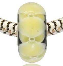 Toptan Perakende Yeni Varış Gümüş Kaplama Tüp Lampwork Cam Murano Cam Charm Boncuk Pandora Bilezik Için nereden tişört bedava tedarikçiler